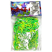 Official Rainbow Loom 300 Two Tone Green/Yellow Refill Bands w/ C Clips