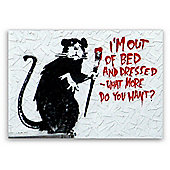 Banksy Rat Out of Bed Canvas Wall Art A4 Size