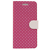 "Tortoiseâ""¢ Textured Plastic Folio Case, Mini Polka Dots, Pink with Cream spots & Tab.iPhone 6"