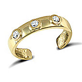 Jewelco London 9ct Solid Gold flat Toe Ring set with 3 CZ stones