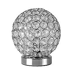 Modern Ducy Touch Table Lamp, Chrome & Clear Jewels