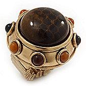 Chunky Dome Shape 'Snake Print' Resin Stone Flex Ring In Burn Gold Finish - 35mm Diameter - Size 8/10
