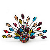 Stunning Multicoloured Swarovski Crystal 'Peacock' Flex Ring In Silver Metal - 7.5cm Length (Size 7/8)
