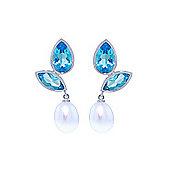 QP Jewellers Pearl & Blue Topaz Petal Earrings in 14K White Gold