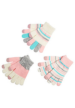 F&F 3 Pair Pack of Striped Touch Screen Gloves - Multi