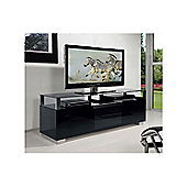 Triskom Wooden TV Stand for LCD / Plasmas with Three Shelves - Black Glass