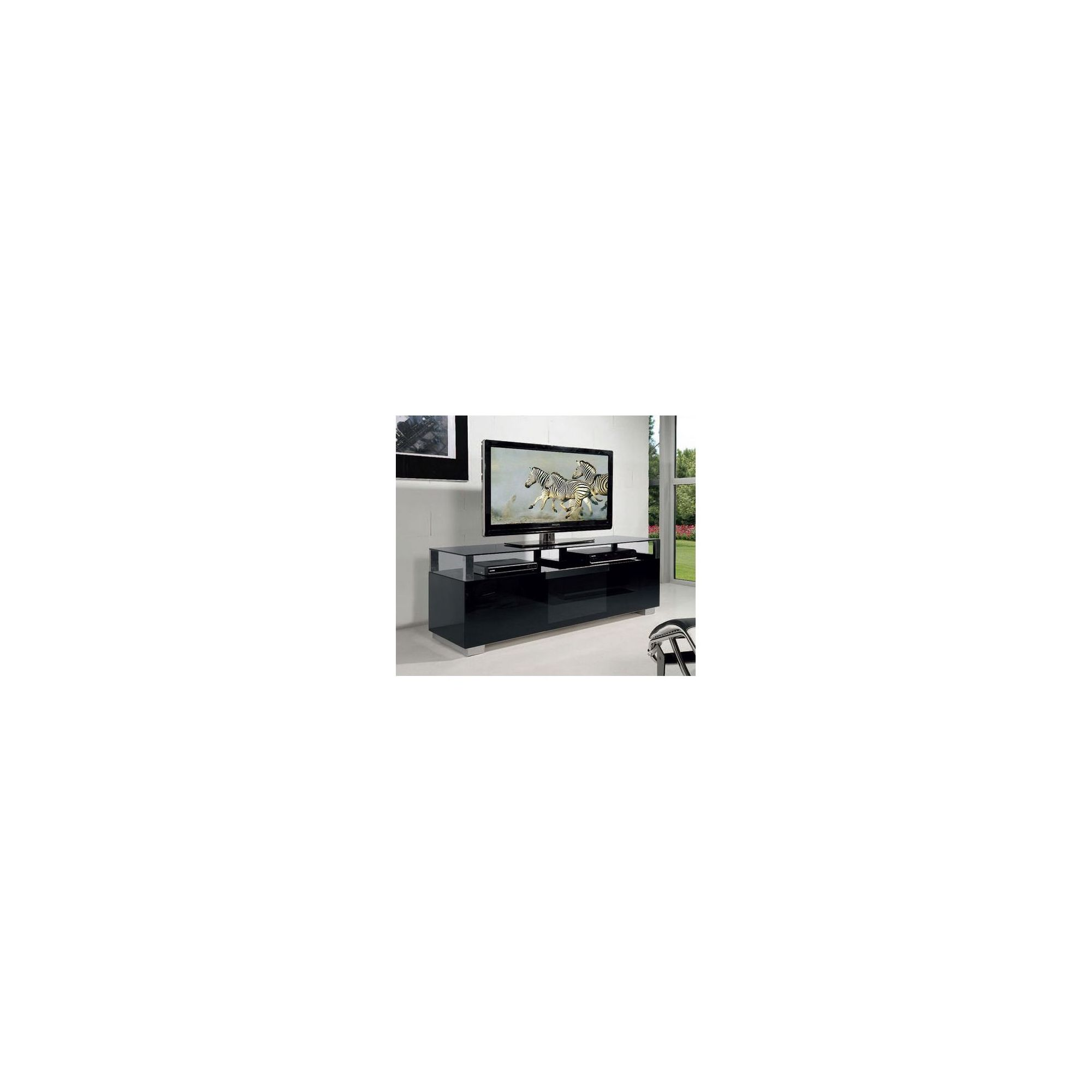 Triskom Wooden TV Stand for LCD / Plasmas with Three Shelves - Black Glass at Tesco Direct