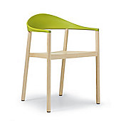 Plank Monza Armchair with Yellow Green Back Rest - Ash Natural