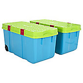 Wham Tough Cart Plastic Storage Boxes - 2 Pack - Blue