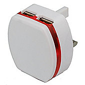 Dual USB At Home LED Compact Charger (White) For Nook HD Plus