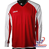 Mitre Aren DryCool Long Sleeved Football Shirt Jersey Red/White - Red & White