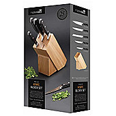 Master Class Halo Knife Set with Oak Wood Storage Block