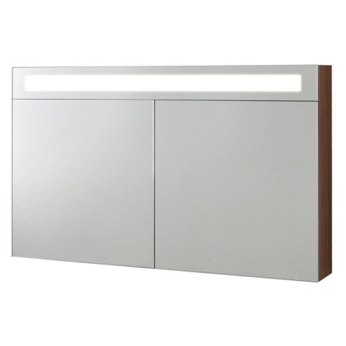 desire vito mirrored bathroom cabinet with light 1000mm wide walnut