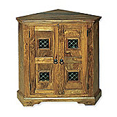 Elements Jaitu Block Two Door Corner Cabinet in Warm Lacquer
