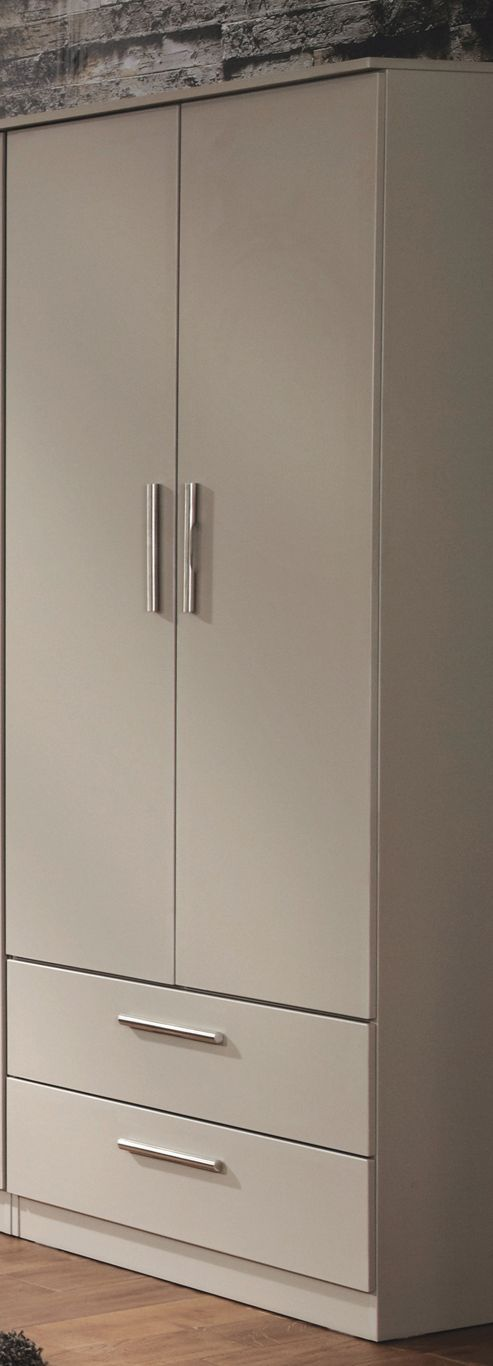 Welcome Furniture Contrast Tall 2 Drawer Wardrobe - Mushroom