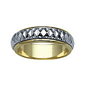 Jewelco London Bespoke 9 carat Yellow & White Gold 6mm Two Piece Wedding Ring with Spinning Center Band.