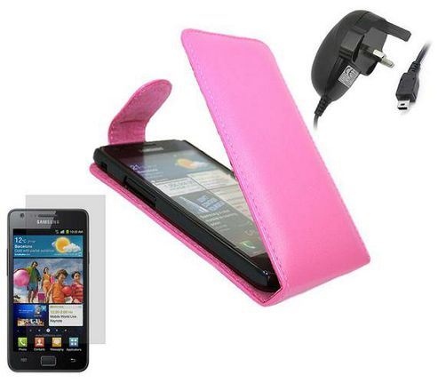 iTALKonline Pink Clip On Flip Case, LCD Screen Protector, Mains Charger - Samsung i9100 Galaxy S II S2