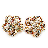 Diamante, Simulated Pearl 'Flower' Clip-On Earrings In Gold Plating - 23mm Width