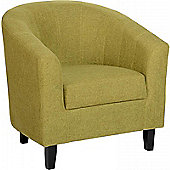 Tempo Tub Chair in Green Fabric with Dark Brown Legs