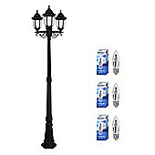 Regency Triple Head LED Lamp Post in Black with Warm White Candle Bulbs