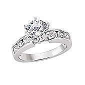 Jewelco London Rhodium-Plated Sterling Silver CZ Dress Ring Size