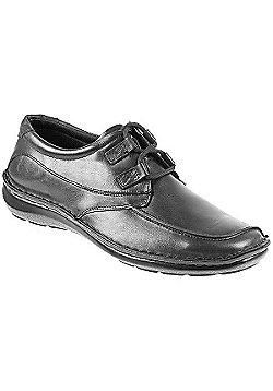 Arbitro Handmade Leather Shoe with Double Loop Lace Black Antique - 10 - Black