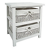 Premier Housewares Storage Unit with Two Maize Baskets - White