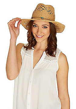 F&F Boho Trim Cowboy Hat - Natural