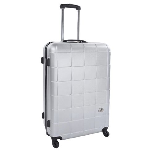 Beverly Hills Polo Club 4-Wheel Hard Shell Suitcase, Silver Square Print Medium