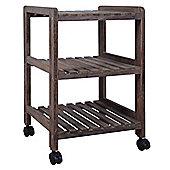 Three Tier Storage Shelves / Trolley - Dark Wood Effect