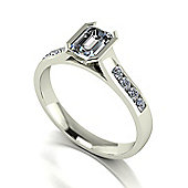 18ct White Gold 6x4 Radiant Moissanite Solitaire and Moissanite Set Shoulders
