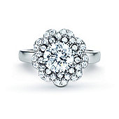REAL Effect Rhodium Plated Sterling Silver White Cubic Zirconia Solitaire Flower Cluster Dress Ring