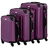 VonHaus 3pc Hard Shell ABS Trolley Suitcase Luggage Set with 4 Rotating Wheels & Combination Lock - Purple