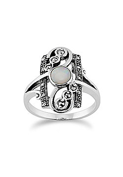 Gemondo Sterling Silver 0.28ct Opal Cabochon & 0.15ct Marcasite Art Nouveau Ring