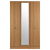 Tenby 3 Door Wardrobe With Mirror, Oak Effect
