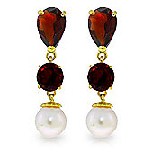 QP Jewellers Pearl & Garnet Hour Glass Droplet Earrings in 14K Gold