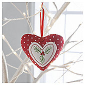 Gisela Graham Fabric Scandi Heart Hanging Decoration