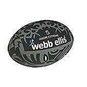 Webb Ellis Maori Extreme Flag Rugby Ball Black Size 3