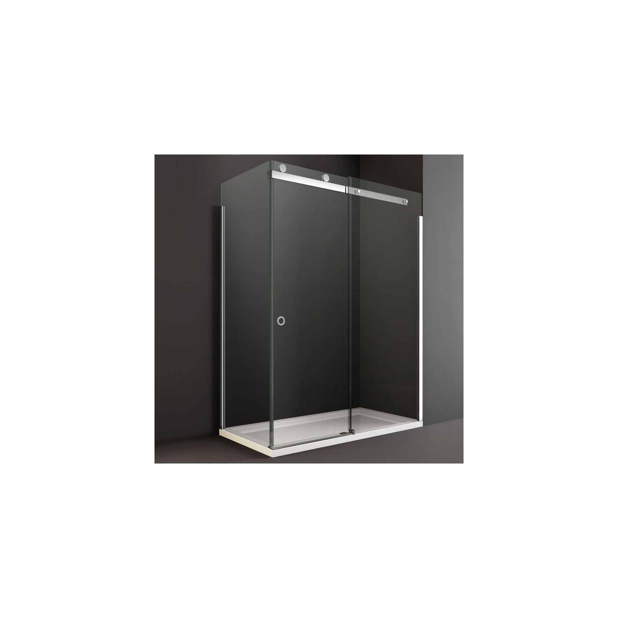 Merlyn Series 10 Sliding Shower Door, 1400mm Wide, 10mm Smoked Glass, Right Handed at Tesco Direct