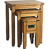 Kelburn Furniture Bordeaux 3 Piece Small Nest of Table Set in Medium Oak Stain and Satin Lacquer