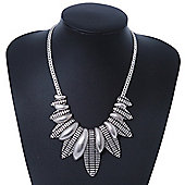 Ethnic Hammered Leaf Necklace In Burn Silver Metal - 42cm Length/ 5cm Extension