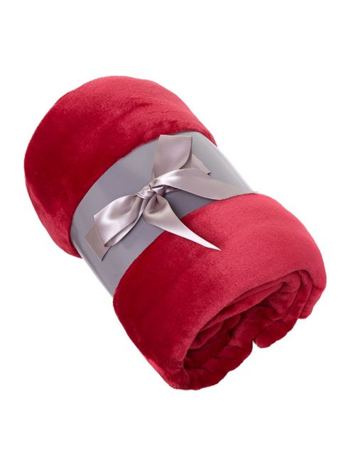 Linea Fleece Throw Red In Red