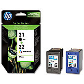 HP No. 21/22 Inkjet Print Cartridges Twin Pack - Black/Colour:.
