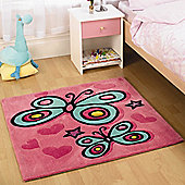 Rugs with Flair Kiddy Play Butterfly Pink Kids Square Rug - Square 90cm