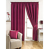 KLiving Pencil Pleat Ravello Faux Silk Lined Curtain 65x90 Inches Fuchsia