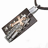 Urban Male Men's Brown Leather Adjustable Necklace Cross & Barcode Design Pendant