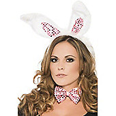 White & Pink Sequined Bunny Set