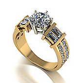 18ct Gold 6.5mm Round Brilliant Moissanite with Round and Baguette Moissanite Shoulders
