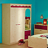 Parisot Lolita Three Door Wardrobe in White Stained Pine / Raspberry
