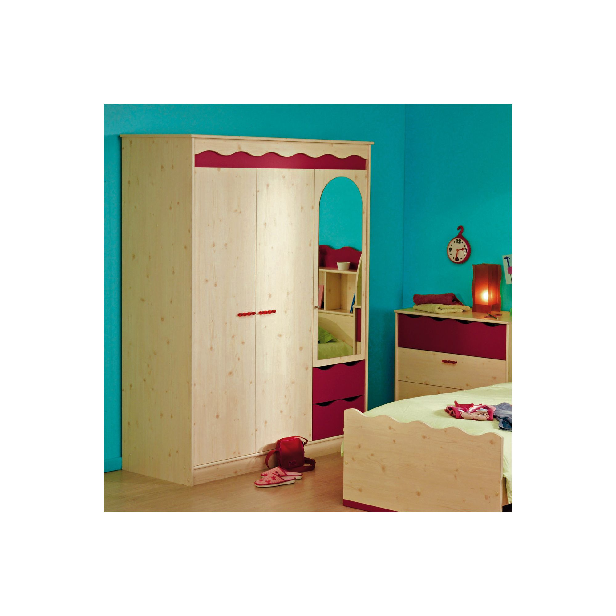 Parisot Lolita Three Door Wardrobe in White Stained Pine / Raspberry at Tesco Direct